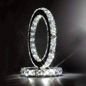 WSHFOR Mode en acier inoxydable lampe en lampe de table en lampe de chevet style moderne Créative chambre simple salon à la mode cristal lampe à cristaux liquides à double face (lumière blanche) de la marque Wshfor image 0 produit