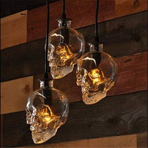 WSND Moderne Simple Loft Skull Head Lustre Bouteille en verre Lampe suspendue Couloir nuit Living Room Bar 3 Pendant Lamp, 220V-240V de la marque WSND image 0 produit