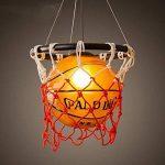 WSXXN Creative Basketball Pendentif Lumière En Verre Abat-Jour Lustre avec E27 Porte-Lampe En Cuivre Bar Lumière Personnalité Magasin Sport Thème Art Lustre de la marque Wsxxn image 1 produit