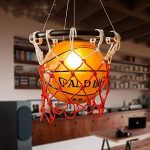 WSXXN Creative Basketball Pendentif Lumière En Verre Abat-Jour Lustre avec E27 Porte-Lampe En Cuivre Bar Lumière Personnalité Magasin Sport Thème Art Lustre de la marque Wsxxn image 3 produit