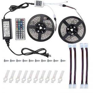 WYFC 10M Ensemble De Luminaires 600 LED 5050 SMD RVB Télécommande/Découpable / Intensité Réglable 100-240 V/Connectible / Auto-Adhésives/Couleurs Changeantes / IP44 de la marque WYFC image 0 produit