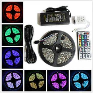 WYFC 5M Barrette D'eclairage RVB 300 LED 5050 SMD 1 Adaptateur 12V 6A / 1 44Keys Télécommande / 1 Câble CA RVB Découpable/Imperméable / Décorative 1Set / IP65 / Auto-Adhésives de la marque WYFC image 0 produit