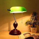 XIANGYU Lampe de bureau traditionnelle banquiers classique bois abat-jour en verre vert Retro lampe de table e27 pour salon bureau salle de réunion étude lampe de lecture de la marque Xiangyu image 1 produit