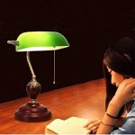 XIANGYU Lampe de bureau traditionnelle banquiers classique bois abat-jour en verre vert Retro lampe de table e27 pour salon bureau salle de réunion étude lampe de lecture de la marque Xiangyu image 2 produit