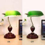XIANGYU Lampe de bureau traditionnelle banquiers classique bois abat-jour en verre vert Retro lampe de table e27 pour salon bureau salle de réunion étude lampe de lecture de la marque Xiangyu image 3 produit