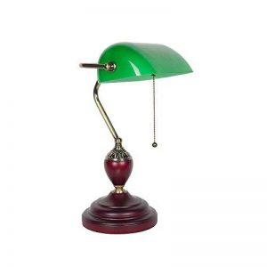 XIANGYU Lampe de bureau traditionnelle banquiers classique bois abat-jour en verre vert Retro lampe de table e27 pour salon bureau salle de réunion étude lampe de lecture de la marque Xiangyu image 0 produit