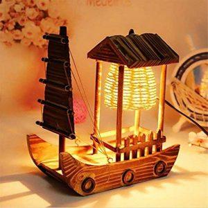 XIAOJIA Lampe de bureau Carlingue en bois à voile artisanale lampe de table pure artisanale cadeaux artisanat personnalisé de la marque XIAOJIA image 0 produit