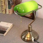 XSPWXN Lampe de Table Rétro Américaine avec Interrupteur à Tiroir Bureau d'Étude de Travail Lampe de Bureau à Lampe avec Abat-jour en Verre Bronze Ancienne Lampe de Chambre à Couchage Vert Vert Shanghai Lampe de Chambre Lampe de Bureau Antique Classique C image 2 produit