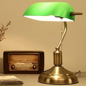 XSPWXN Lampe de Table Rétro Américaine avec Interrupteur à Tiroir Bureau d'Étude de Travail Lampe de Bureau à Lampe avec Abat-jour en Verre Bronze Ancienne Lampe de Chambre à Couchage Vert Vert Shanghai Lampe de Chambre Lampe de Bureau Antique Classique C image 0 produit