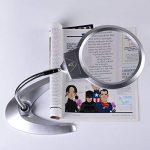 XYK Loupe de lecture grossissante, 13cm, 2x, 5x, idéale pour bureau–Design pliable avec 2lampes LED–Alimentée par 3piles AAA–Plus verre secondaire de 2,5 cm 5x–Lampe loupe de lecture avec lumière et support de la marque XYK image 4 produit