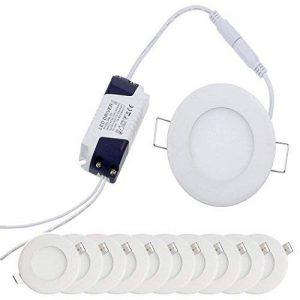 YESDA 10x Plafonnier LED 3W Ultraslim Plafond Rond Panneau Eclairage Encastré Spot Light 220Lm Lumière Blanc Chaud 3000K AC 85 - 265V Parfait pour Plafond de Chambre, Cuisine, Salon, Couloir de la marque YESDA image 0 produit
