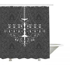 """Yeuss vintage Rideau de douche par, victorien stylisée nostalgique Lustre Baroque sur Damas Fond Motif Rococo, tissu de salle de bain Décor avec ensemble de crochets, gris blanc 152,4x 182,9cm, Polyester, gris/blanc, 72""""x72""""(180cmx180cm) de la marque Ye image 0 produit"""