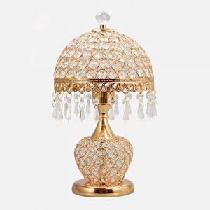 YONG SHOP- Lampe de table en cristal européen Lampe de chevet en chambre à coucher Salon Cuisine en lampe de luxe à deux boutons E27 + perles de lampe ( Couleur : Or ) de la marque Lampes de table image 0 produit