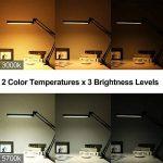 YOUKOYI Lampe de bureau à LED Dimmable 3000K / 5700K avec serre-joint Eye-care Drafting Lampe de bureau Lampe de table réglable avec 3 niveaux de luminosité et contrôle tactile Lampe de lecture Silver Lamp Lampe d'étude de la marque YOUKOYI image 3 produit