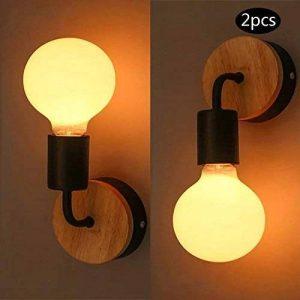 YUENSLIGHTING 2 Pack Loft Lampe murale noire Simplicity E27 LED Fer et plaque en bois (sans ampoule) de la marque YUENSLIGHTING image 0 produit