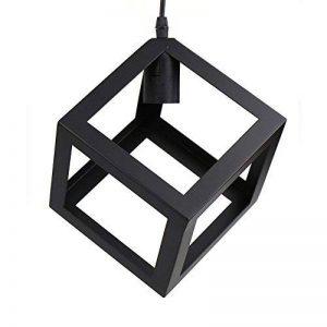 Yunt Retro Lustre Industriel Noir en métal Fer forge Plafonnier Lumière Suspension - Abat-jour Cube (Type B) de la marque Yunt image 0 produit
