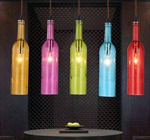 ZLL Restaurant américain Cafe lustre, suspension barre d'éclairage verre couleur bouteille de couleur le bar restaurant, lustres décoratifs , champagne de la marque shengshiyujia image 0 produit