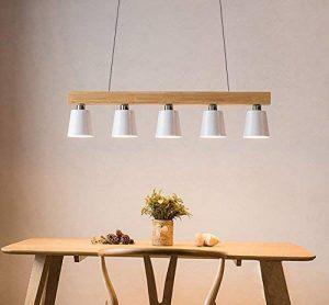 ZMH LED Lampe à suspension en bois et métal rétro Lampe suspension Lampe suspension Pendante & Lampe plafonnier E27 Ampoules pour salle à manger salon bureau café Bar Moderne blanc de la marque ZMH image 0 produit