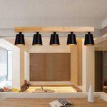 ZMH Lustre Retro Suspension LED Lampe à suspension en bois et métal Lampe suspension Lampe suspension Pendante & Lampe plafonnier E27 Ampoules pour salle à manger salon bureau café Moderne noir de la marque ZMH image 4 produit