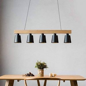ZMH Lustre Retro Suspension LED Lampe à suspension en bois et métal Lampe suspension Lampe suspension Pendante & Lampe plafonnier E27 Ampoules pour salle à manger salon bureau café Moderne noir de la marque ZMH image 0 produit